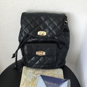 Black Quilted Faux Leather Mini Backpack Travel